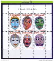 Ndr1679 AZIATISCHE MASKERS ASIAN MASKS SURINAME 2009 PF/MNH # - Culture