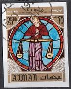 775 Ajman 1971 Segni Zodiaco Bilancia Libra - Stainled Glass Window Vetrata Notre Dame Imperf. Zodiac - Astrologia