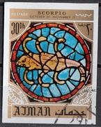 776 Ajman 1971 Segni Zodiaco Scorpione Scorpio - Stainled Glass Window Vetrata Notre Dame Imperf. Zodiac - Astrologia