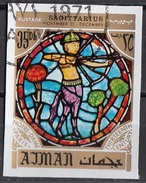 777 Ajman 1971 Segni Zodiaco Sagittario Sagittarius - Stained Glass Window Vetrata Notre Dame Imperf. Zodiac - Astrologia