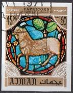 778 Ajman 1971 Segni Zodiaco Capricorno Capricorn - Stained Glass Window Vetrata Notre Dame Imperf. Zodiac - Astrologia