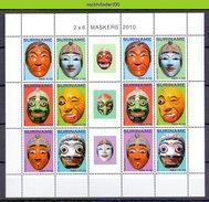 Ndr1764VBPb AZIATISCHE MASKERS ASIAN MASKS SURINAME 2010 PF/MNH - Kulturen