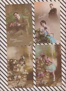 2X2825 Lot De 16 Cartes Fantaisies ANCIENNES  HOMME FEMME COUPLE ENFANTS - Fantaisies