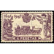 ES265STV-LFT**265STAN.España.Spain. Espagne.CENTENARIO DE EL QUIJOTE .19015(Ed 265* )con  Charnela - 1889-1931 Reino: Alfonso XIII