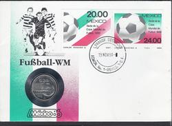 1985 - Copa Mundial De Futbol  1986 - 25 Peso -1984-Mexico-Postal Stamp I-Yt:MX 1066 - Postal Stamp II-Yt:MX 1067- *1601 - Messico