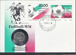 1985 - Copa Mundial De Futbol  1986 - 25 Peso -1984-Mexico-Postal Stamp I-Yt:MX 1066 - Postal Stamp II-Yt:MX 1067- *1833 - Messico