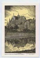 TROYES REFLET DE LA BASILIQUE ST URBAIN DANS LE CANAL DESSIN  DE CHARLES FAVET  DOS NON IMPRIME - Troyes