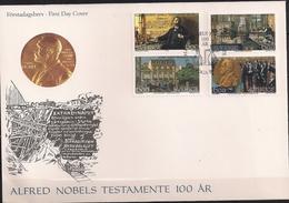 1995 Schweden Mi. 1917-20 FDC 100 Jahre Alfred-Nobel-Testament - Carnets