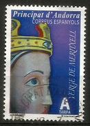 La Vierge De Meritxell, Patronne De L'Andorre, Timbre Oblitéré, 1 ère Qualité - Gebraucht