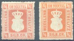 MECKLENBURG STRELITZ  - 1864 - MH/*  - Mi 1a 1 B EXPERT MARK  - Lot 15361 - Mecklenbourg-Strelitz