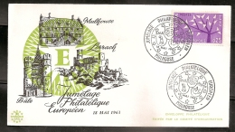 FRANCE ENVELOPPE 1ER JOUR - JUMELAGE PHILATELIQUE EUROPEEN - 18 MAI 1963 - FDC
