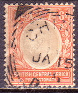BRITISH CENTRAL AFRICA (NYASALAND) 1907 SG #71 6d Used CV £55 Wmk Mult.Crown CA - Great Britain (former Colonies & Protectorates)