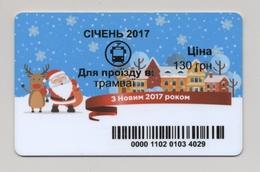 UKRAINE Kyiv Tram Civil TICKET Plastic January 2017 Happy New Year Santa - Europa