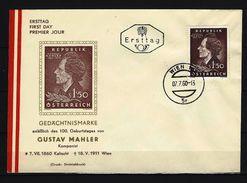 ÖSTERREICH - FDC Mi-Nr. 1078 - 100. Geburtstag Von Gustav Mahler  WIEN (5) - FDC