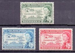 Montserrat 1958 The West Indies Federation (3v) MNH (M-108)