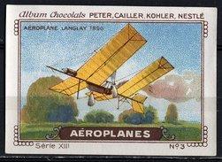 Nestlé - XIII - Aéroplanes, Airplanes - 3 - Aéroplane Langlay 1896 - Nestlé