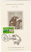 UPU CONGRESS DAY Green Stamps BRAZIL Souvenir Sheet ROWLAND HILL  FLYING POST OFFICE - Brazilië