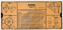 Ancienne Abaque De Calcul OMARO - Chaises En Bout, Consoles, Poulies Organes De Transmission - Copyright 1936 - Technical