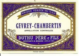 Etiquette De Vin - De 1971 - GEVREY-CHAMBERTIN - Duthu Père & Fils, Beaune - - Etiquettes