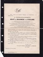 VILVOORDEN ROTTERDAM Joannes NOLET De BRAUWERE Van STEELAND 1815-1888 Ordre NEDERLANDSCHEN LEEUW Académie Flamande - Overlijden