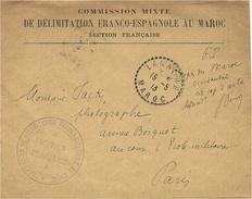 """1913- Enveloppe à En-tête De LARACHE  """" Commission Mixte De Délimitation Franco-Espagnole Au Maroc""""  + Cachet - Marruecos (1891-1956)"""