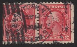 1915, Us 2c, Used  Pair, Geroge Washington, Sc 463, Creased - Used Stamps