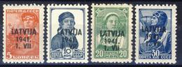Lettonia - 4 Valori Della 1° Serie (vedi Descrizione) Nuovi MNH** - Occupazione 1938 – 45