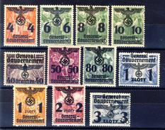 1940 - Spezzature Della Serie Di Francobolli Di Polonia Soprastampati (vedi Descrizione) 11 Valori Nuovi MNH** E MH* - Gouvernement Général
