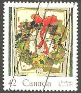 Sc. # 1149 Christmas Holly Wreath Mid-value Single Used 1987 K073