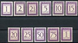 Surinam, Suriname, 1956, Porto, Postage Due, MNH, Some Yellow Discoloration, Michel 47-57 - Surinam