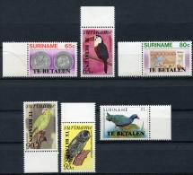 Surinam, Suriname, 1987, Birds, Porto, Postage Due, MNH Overprinted, Michel 58-63 - Surinam