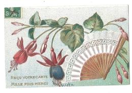 Reçu Votre Carte - Mille Fois Merci - Eventail Et Fuschia - Gauffrée - 1306 - Fleurs