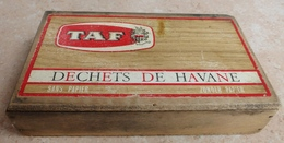TABAC  )    BOITE  A  CIGARES  -   TAF - Déchets De Havanae - Sans Paper -   En Bois - Contenitore Di Sigari