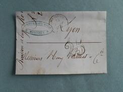 MARQUE POSTALE DE MANOSQUE A LYON DU 23 AOUT 1852