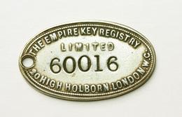 "Rare ! Jeton Grande-Bretagne ""The Empire Key Registry - 20 High Holborn London - 5/- Reward"" - Professionals/Firms"