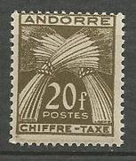 ANDORRE TAXE N° 31 NEUF** LUXE  SANS CHARNIERE / MNH