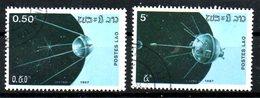 LAOS. 2 Timbres Oblitérés De 1987. Engins Spatiaux.