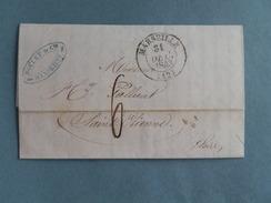 MARQUE POSTALE DE MARSEILLE A ST ETIENNE DU 31 DECEMBRE 1843
