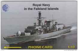 Falkland Islands,  £10, Royal Navy In Falklands Is., Ship, CP : 59CFKC, 2 Scans.