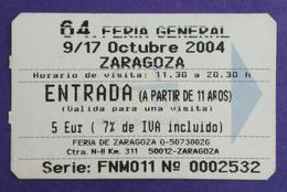 ZARAGOZA. ENTRADA FERIA DE MUESTRAS. USADO - USED. - Tickets D'entrée