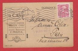 Tchécoslovaquie  --  Entier Postal De Prague Pour Paris  --  26/6/1912 - Postales