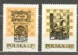POLAND MNH ** 2162-2163 Festival International D´échec à Lublin Jan Kochanoswki Daniel Chodowiecki