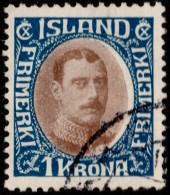 ~~~ Islande Iceland  1931 - Christian X 1 Kroner - Mi. 165  (o) ~~~ - 1918-1944 Administration Autonome