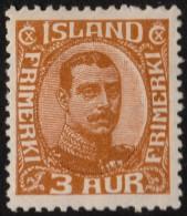 ~~~ Islande Iceland  1920  -  Christian X  Key Value - Mi. 84 * MH - CV 26.00 Euro ~~~ - Nuovi