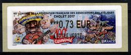 France, ATM Label, Carnival In Cholet, 0.73€, 2017, MNH VF - 2010-... Illustrated Franking Labels