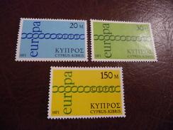TIMBRES   EUROPA   1971   CHYPRE   N  351  A  353   COTE  4,50  EUROS      NEUFS  LUXE** - Europa-CEPT