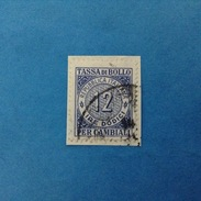 MARCA DA BOLLO TASSA DI BOLLO PER CAMBIALI DA 12 LIRE USATA SU FRAMMENTO - 6. 1946-.. Repubblica