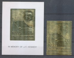 099a /Ajman N°208 + Bloc 20 OR Gold Stamps Kennedy Flamme Eternelle (ewige Flamme) Lollini