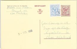 _6ik-835:BRIEFKAART 2,-F+N°854: Niet Afgestempeld Bij Vertrek Maar Door De Facteur Met Zijn Eigennummer 4 - Stamped Stationery