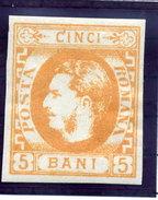 ROMANIA 1869 Carol I   5 Bani Orange  LHM / *.  Michel  21 - 1858-1880 Moldavia & Principality